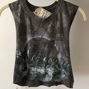 LF - Bleach Tie Dye Wolf Crop